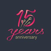 15 years anniversary vector icon,  logo. Graphic design element with red lettering and golden stars for decoration for 15th anniversary celebration