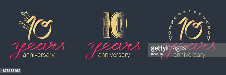 10 years anniversary vector icon set : stock vector