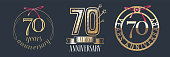 70 years anniversary vector icon, set. Graphic design element with golden numbers for 70th anniversary celebration