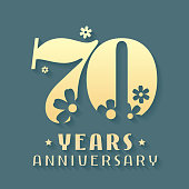 70 years anniversary vector icon, symbol. Graphic design element for 70th anniversary birthday card or invitation