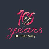 10 years anniversary vector icon. Graphic design element with red lettering and golden stars for decoration for 10th anniversary celebration