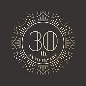 30 years anniversary vector icon. Graphic design element for 30th anniversary birthday card