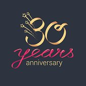 30 years anniversary vector icon. Graphic design element with lettering and red ribbon for decoration for 30th anniversary ceremony