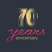 70 years anniversary vector icon. Graphic design element with golden glitter stamp for decoration for 70th anniversary