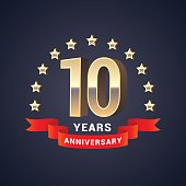 10 years anniversary vector icon. Graphic design element with golden 3D numbers for 10th anniversary decoration
