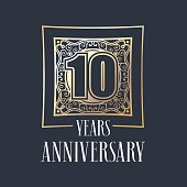 10 years anniversary vector icon. Graphic design element with golden frame and number for 10th anniversary decoration