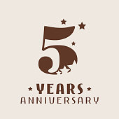 5 years anniversary vector icon. Graphic design element with number and stars decoration for 5th anniversary