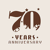 70 years anniversary vector icon. Graphic design element with number and stars decoration for 70th anniversary