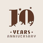 10 years anniversary vector icon. Graphic design element with number and stars decoration for 10th anniversary