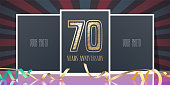 70 years anniversary vector icon. Template design element, greeting card with collage of photo frames and number for 70th anniversary