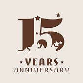 15 years anniversary vector icon. Graphic design element with number and stars decoration for 15th anniversary