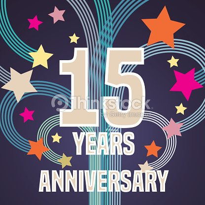 15 Years Anniversary Vector Illustration Banner Flyer Icon Symbol