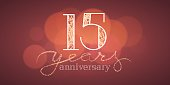 15 years anniversary vector illustration, banner, flyer, icon, symbol, sign. Graphic design element with bokeh effect for 15th birthday card