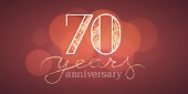 70 years anniversary vector illustration, banner, flyer, icon, symbol, sign. Graphic design element with bokeh effect for 70th  birthday card