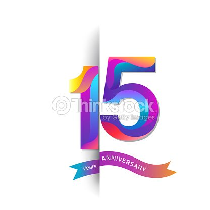 15 Years Anniversary With Colorful Stylized Number Applicable For