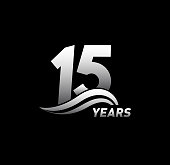 15 Years Anniversary with swoosh Celebration Design logo series