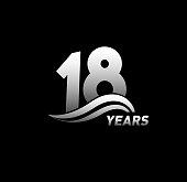 18 Years Anniversary with swoosh Celebration Design logo series
