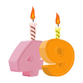 49 years birthday. Number with festive candle for holiday cake. Forty nine Anniversary