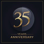 35 years gold and black anniversary celebration simple emblem template on dark background