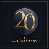20 years gold and black anniversary celebration simple emblem template on dark background