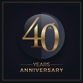 40 years gold and black anniversary celebration simple emblem template on dark background