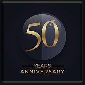 50 years gold and black anniversary celebration simple emblem template on dark background