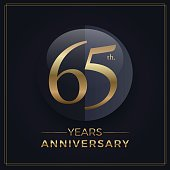 65 years gold and black anniversary celebration simple emblem template on dark background