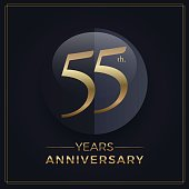 55 years gold and black anniversary celebration simple emblem template on dark background