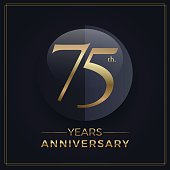 75 years gold and black anniversary celebration simple emblem template on dark background