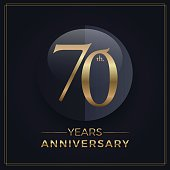 70 years gold and black anniversary celebration simple emblem template on dark background