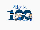 greetings card to the 100th anniversary of Estonia's independence. Kids icon