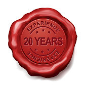 20 years experience red wax seal over white background