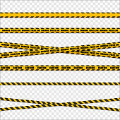 Yellow and black danger tapes. Caution lines isolated. Vector illustration