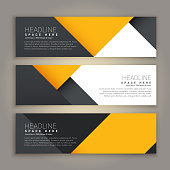 yellow and black minimal style set of web banners