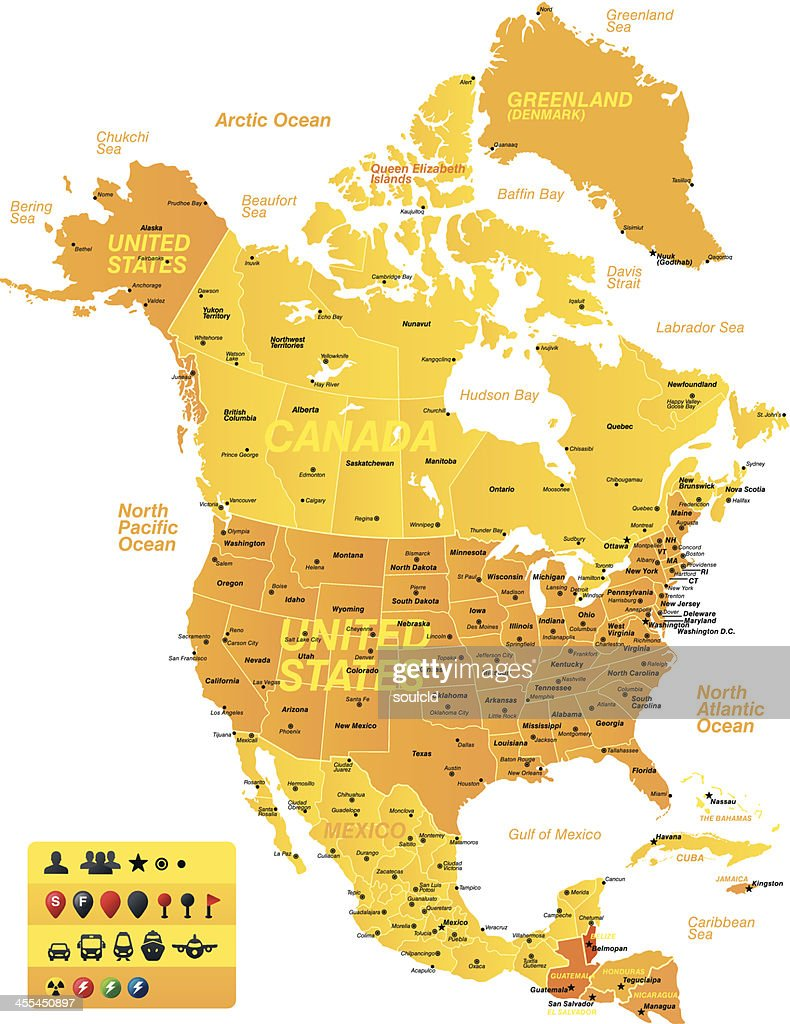 Colored North America Map Vector Art Getty Images
