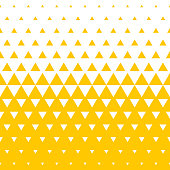Yellow and white triangular halftone transition pattern background. Vector abstract seamless pattern of irregular gradation triangles in mosaic texture background design