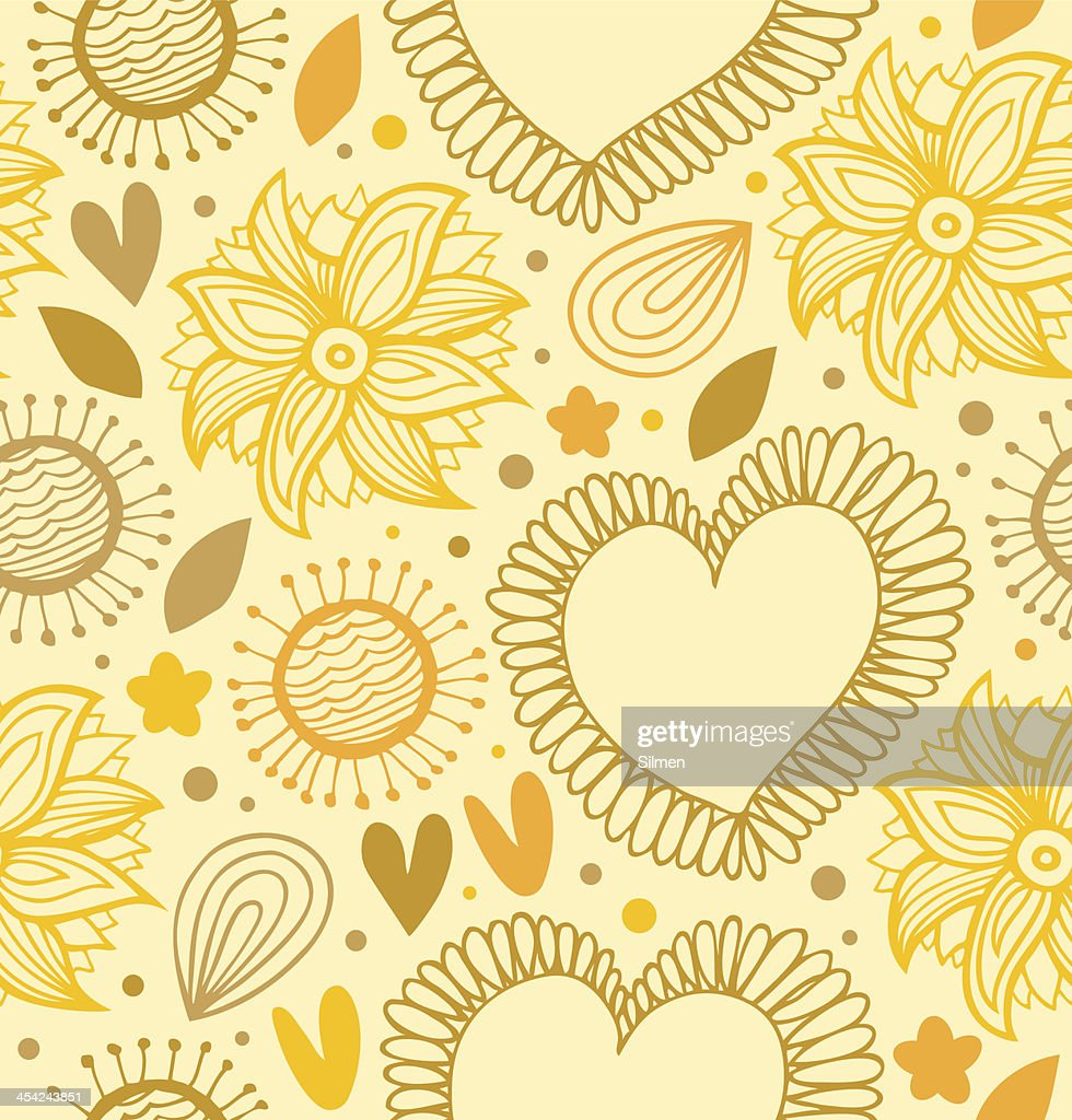 yellow backdrop with hearts and flowers : Vector Art
