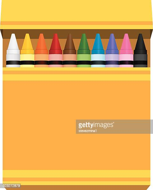 yellow box of rainbow colored crayons