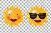 Yellow Cartoon Sun Gradient Mesh, Vector Illustration
