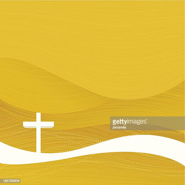 A yellow Christian Easter background