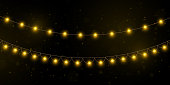 Yellow christmas lights isolated realistic design elements.Christmas lights isolated on transparent background. Xmas glowing garland. Vector illustration.