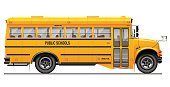 Yellow classic school bus. Side view. American education. Three-dimensional image with carefully traced details. White background.