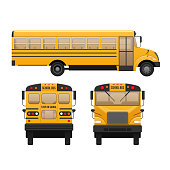 Yellow classic school children's bus. Modern education. Traveling with children, traveling, transportation on kids school bus. Front, side and rear view. Vector illustration in flat style.