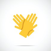 Yellow cleaning gloves flat icon. Vector illustration