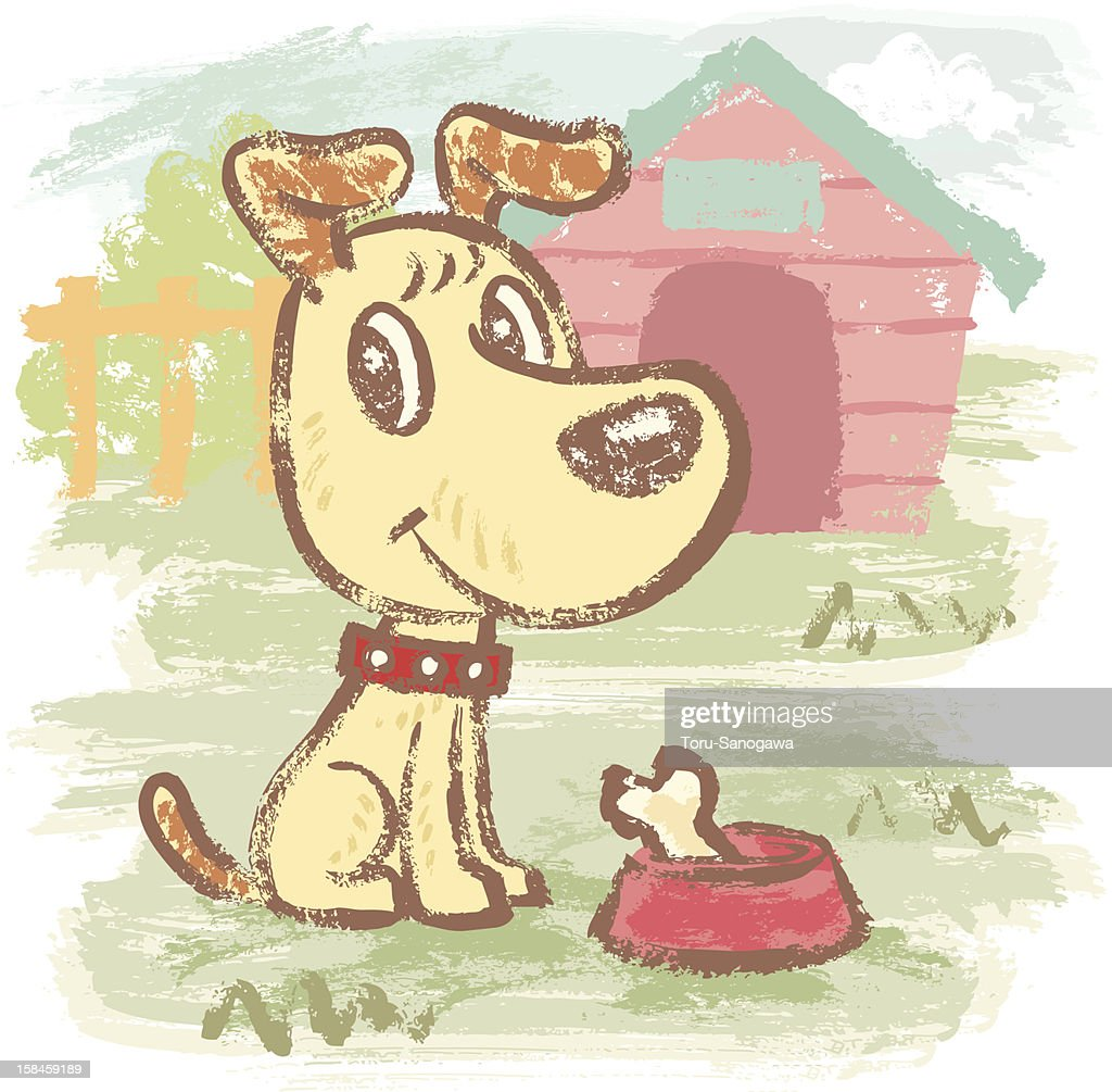 Yellow dog and kennel : Vector Art