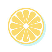 Yellow fresh lemon. Top view of slice of citrus fruit isolated on white background. Healthy food illustration design. Juicy natural organic slice of sumer tropical fruit. Simple Vector icon.