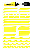 Hand drawn highlighter brush graphic set. Yellow layered scribbled rectangle with wavy lines, solid stripes hand drawings with highlight permanent marker. Vector illustration for business presentation