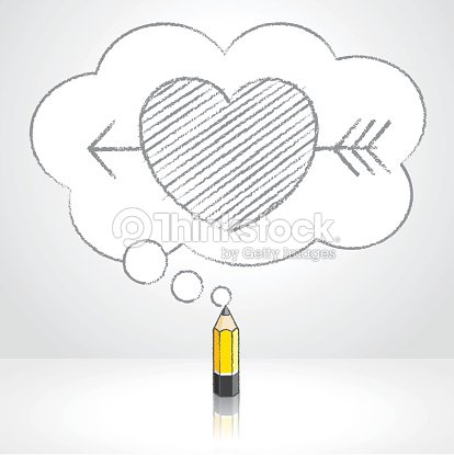 yellow lead pencil drawing arrow through heart in thought cloud