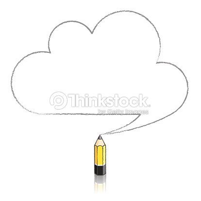 yellow lead pencil drawing cloud speech balloon vector art