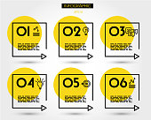 yellow linear square timeline elements, six options